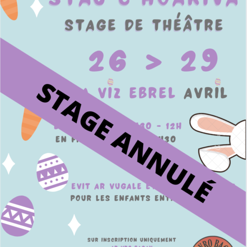 Stage de théâtre pour enfants Avril 2021 – ANNULÉ